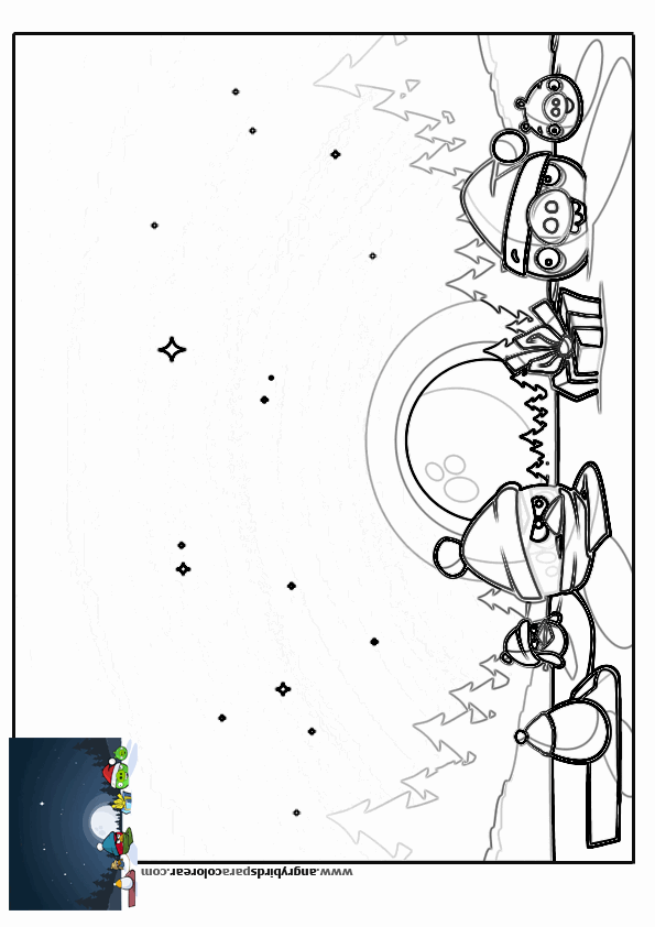 Free coloring pages of angry birds navidad